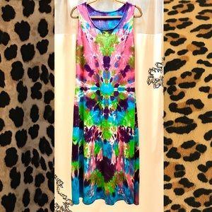 💯 HAWAII 🌴 Tie Dye BOHO 🌺 Festival Tank Dress